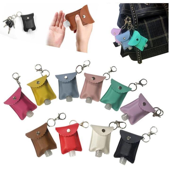 EPACK PU cuir Porte-bouteille vide avec désinfectant pour les mains bouteilles réutilisables Rechargeables chaîne poignet clés Porte-bouteille de savon à la main pour sac à dos
