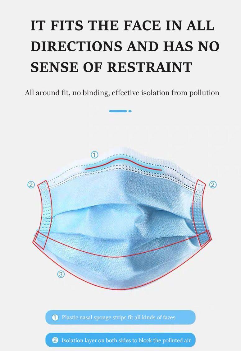 Европа Stock Одноразовой маска 3 слоя Earloops Маски Дыхательной Безопасность лицо Рот Маска Нетканой маску для лица синего