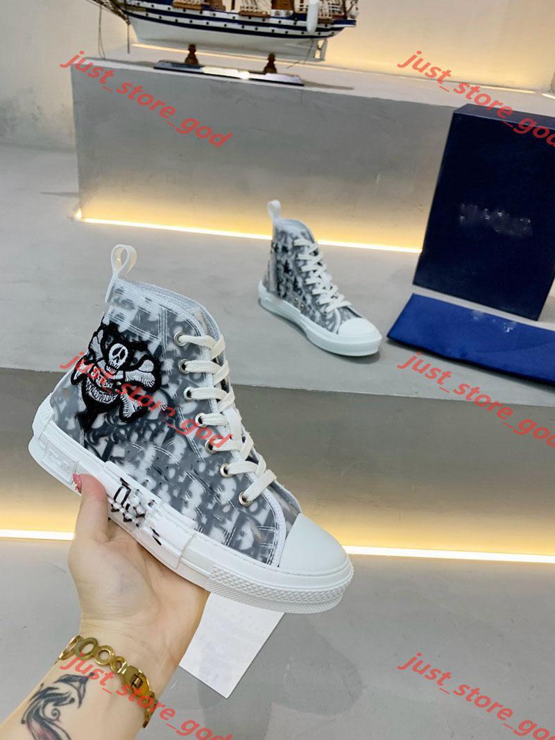 Dior casual shoes Top Frauen der Männer schnüren sich oben beiläufige Schuh-Turnschuh-B 2 Oblique 3 High Top Sneakers Trendy Partei-Kleid-Canvas-Trainer-Schuhe TP