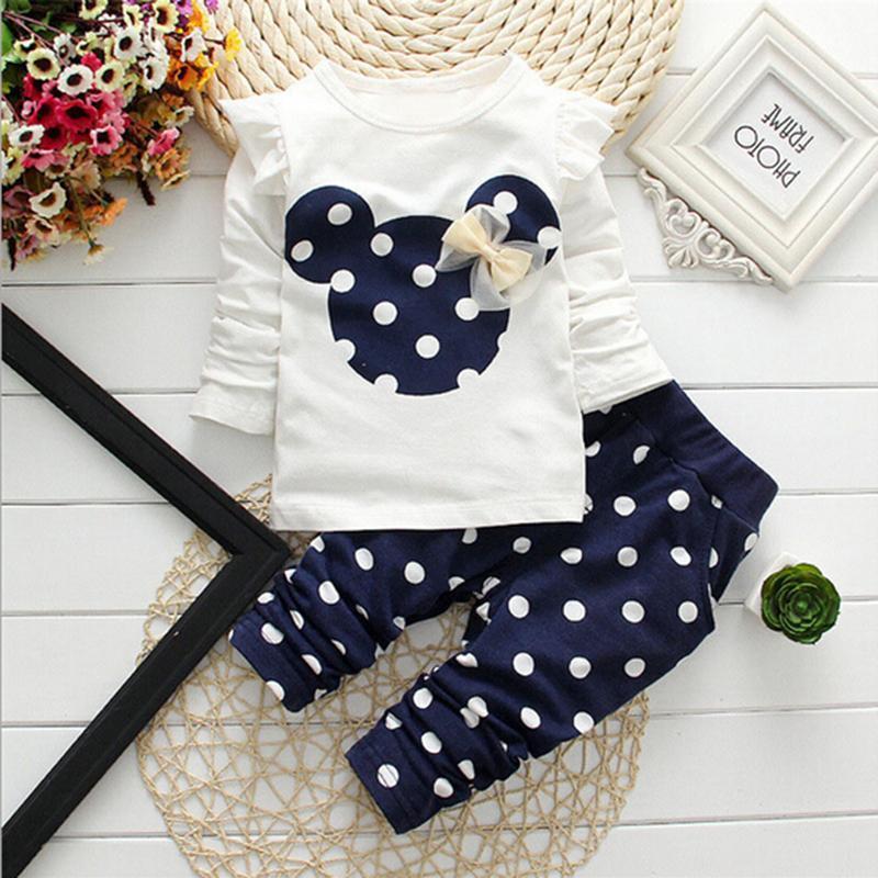 2019 Yeni Bahar Çocuk Kız Giyim Mmouse Erken Sonbahar Giyim Bow Tişörtlü Tozluklar Ppants Bebek Çocuk 2 Adet Suit Y200803 Tops ayarlar
