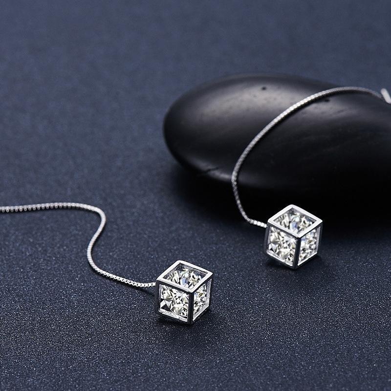 xv64r S925 Sterling Silber Lieber Rubiks Würfel der Frauen im koreanischen Stil eardrop eardrop Dongdaemun Schmuck kalten Stil Temperament lange Earline in