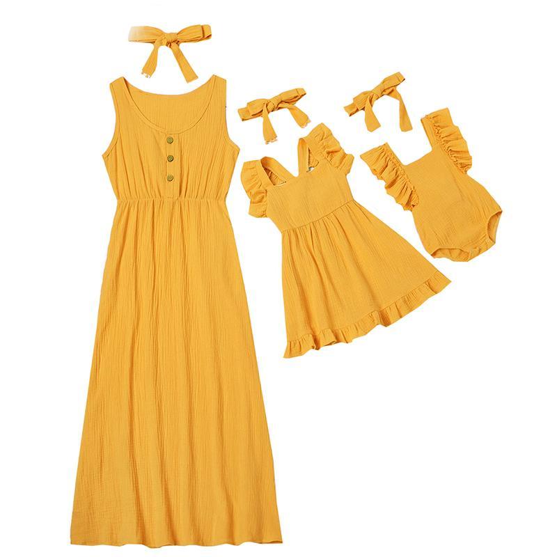 Cute Baby Romper летнее платье матери и дети вскользь кнопки платье Твердая Matching мама младенца Семья Одежда Нижнее платье хлопка