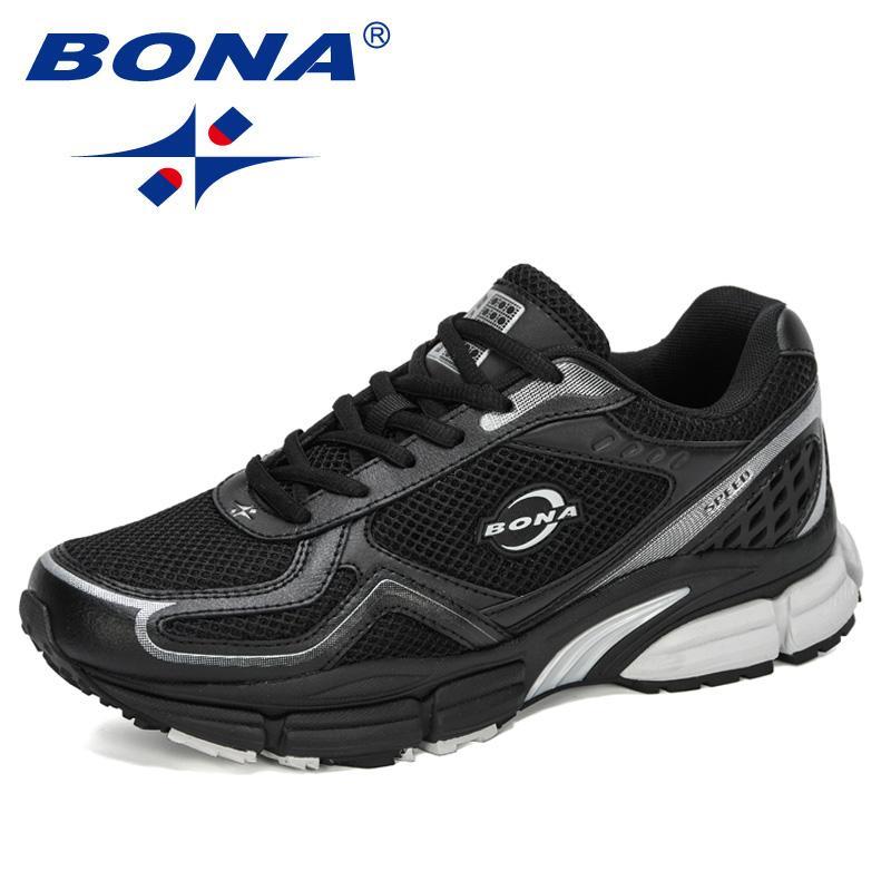 BONA 2020 New Designers Couro Ação malha Luz Correr Desporto Shoes Men Zapatillas Hombre Deportiva Man sapatilha Calçados Esportivos