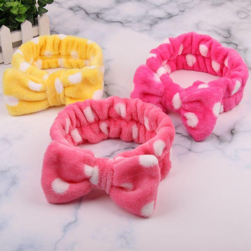 Moda Dot strisce elastiche Bowknots delle fasce delle ragazze delle donne il trucco di lavaggio impacco viso Hairbands archi Türband Accessori per capelli testa