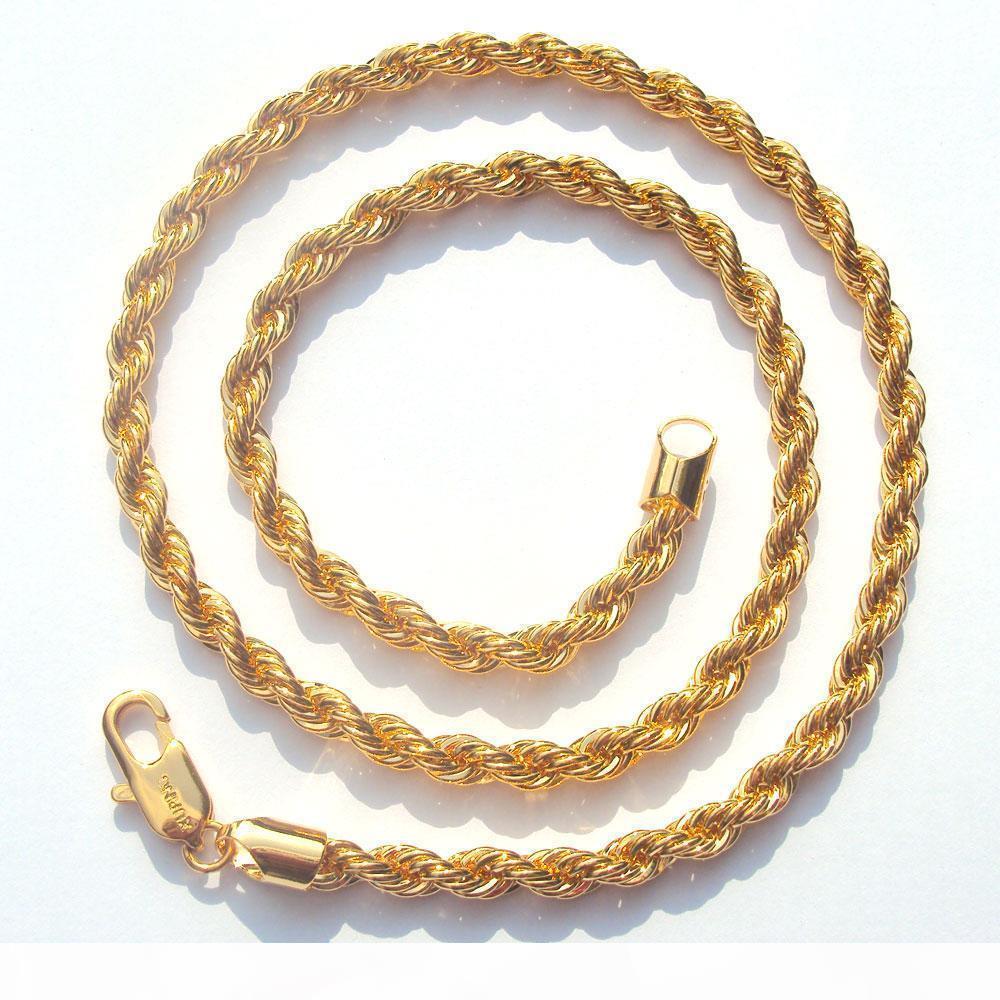 """""""Xuping"""" de alta calidad cadena de la cuerda de 6 mm 14 k amarillo fino oro sólido GF grueso trenzado trenzado para hombre Hip Hop 24"""" pulgadas collar"""