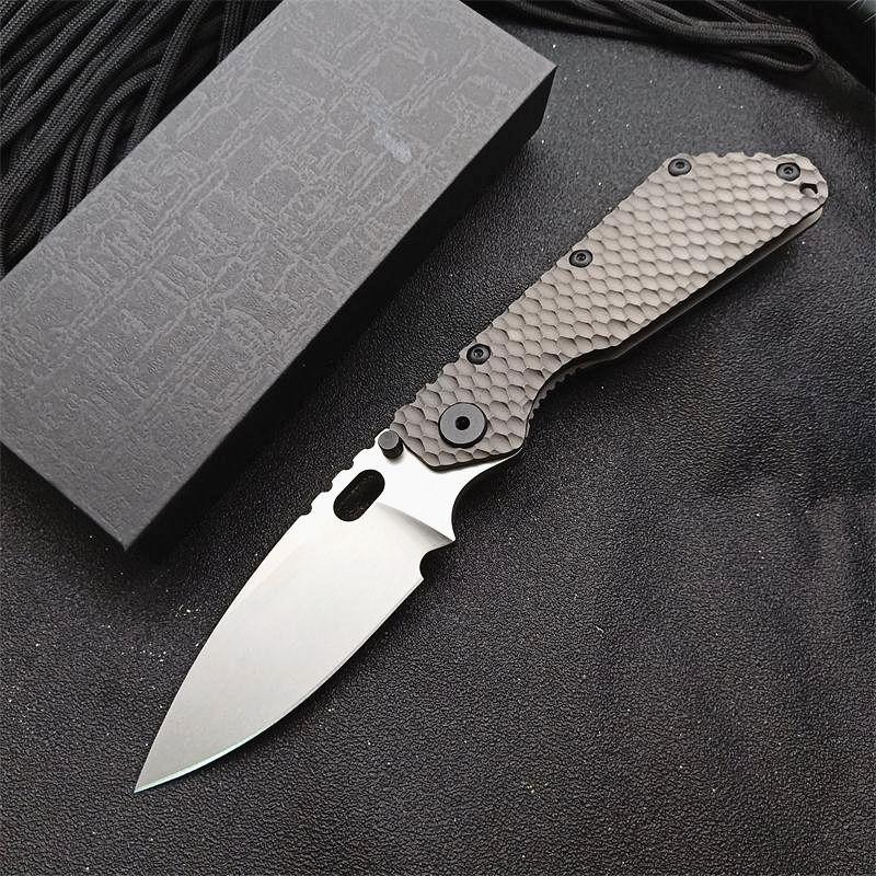 High End Tactical Folding Knife D2 Drop Point Stone Wash Blade TC4 Titanium Alloy Handle EDC Pocket Knives