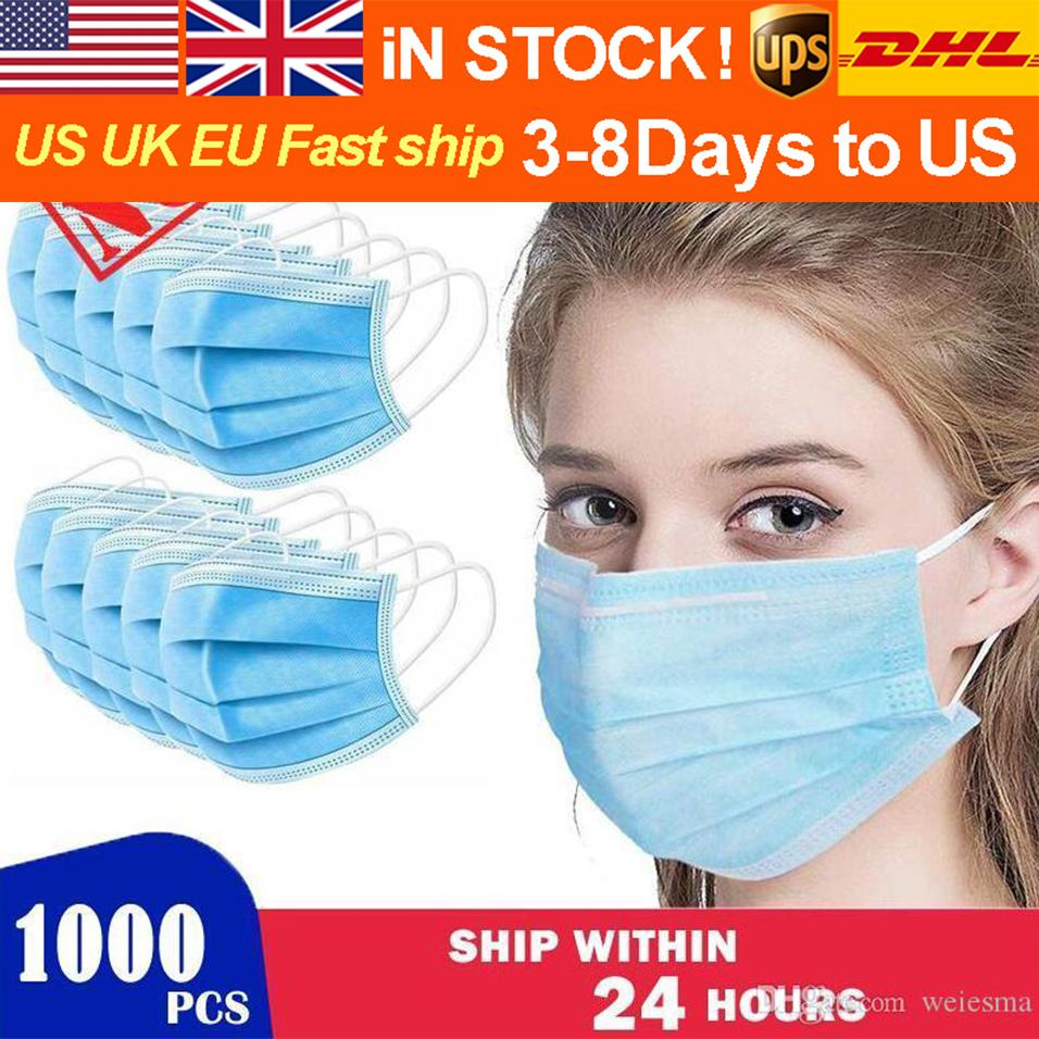 FREE DHL In Stock Non-woven Anti Dust PM2.5 Mask Disposable Face Mask 4 Layer Ear-loop Cover 3-Ply Face Masks with Respirator