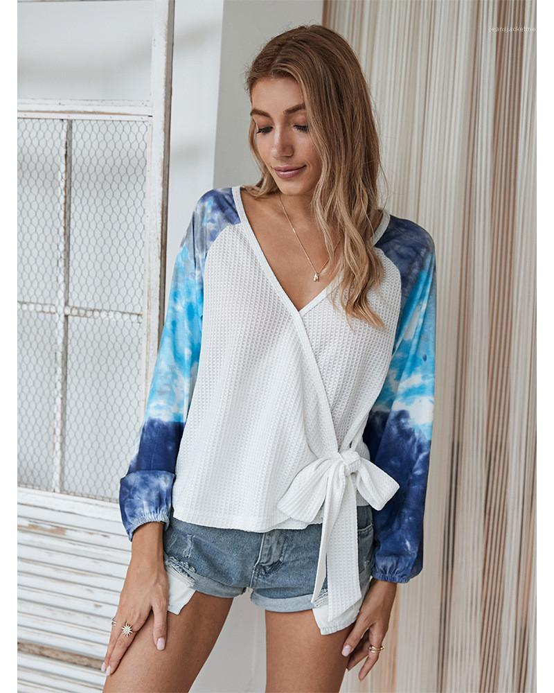 Batik Kontrast Renk V Yaka Uzun Kollu Bandaj OL Stil Bayan Giyim Sonbahar Bayan Tasarımcı Tshirt moda Tops