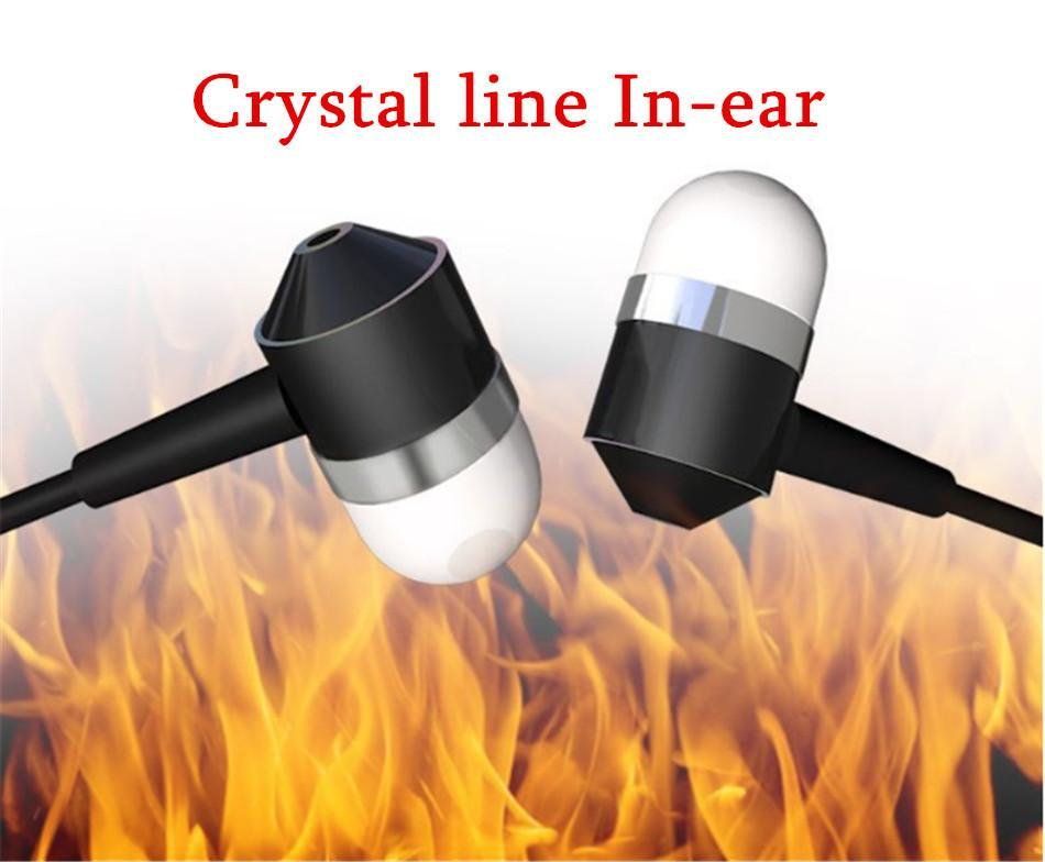 cgjxs Colorful 100 Pcs Color Crystal Line Earphones Computer Phone Generic Subwoofer Wire Control With Microphone Ear Plugs Dhl Free