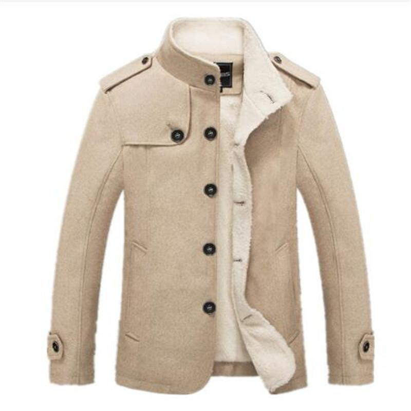 Bolubao New Men Woolen Blends Fashion Winter Jacket Men Fleece Lined Overcoat Male Wool Coat Peacoat Sobretudo Masculino