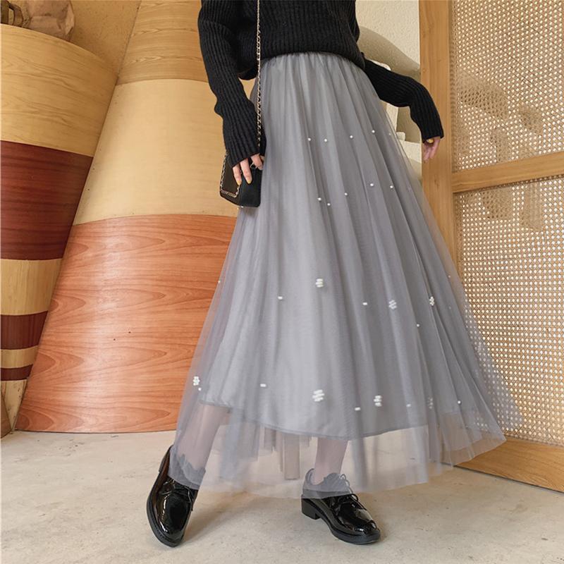 Ailegogo 2020 Donna Autunno Inverno Tulle dell'impero Gonna lunga casuale stile coreano dolce delle signore di modo femminile elegante gonna SK7015