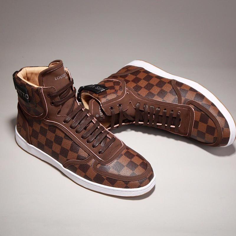 Versión de alta personalidad silvestre Flor vieja piel genuina para hombre de alta superior zapatos deportivos casuales para hombre, transpirable zapatos casuales zapatos de los hombres de moda 016