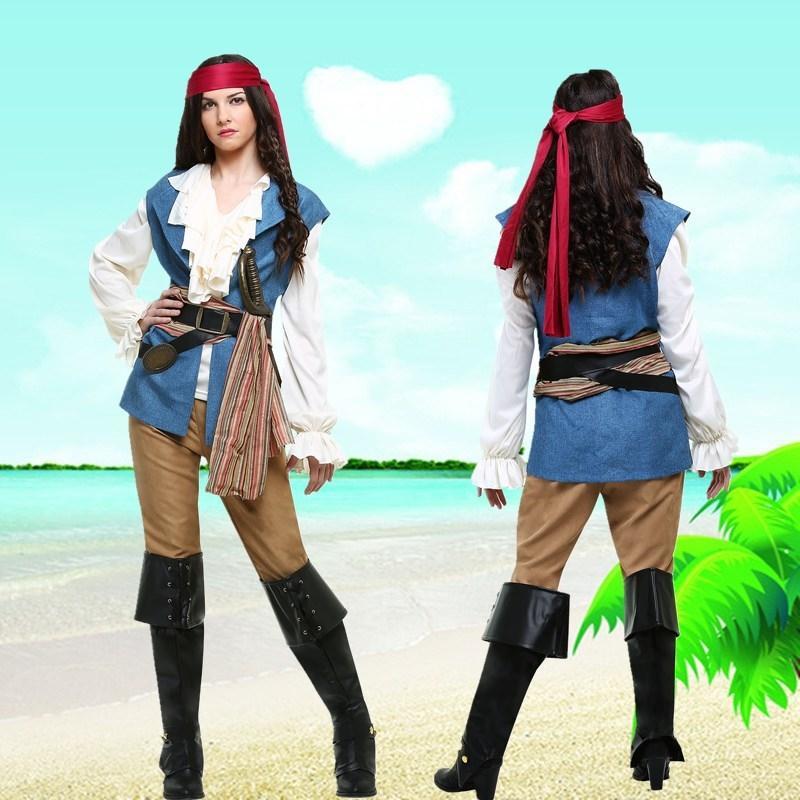 7Fet7 HQmEQ Halloween Pirati abbigliamento per adulti dei pantaloni del costume cosplay uniforme del gioco Fase pirata pirata vestiti femminili fase Caraibi