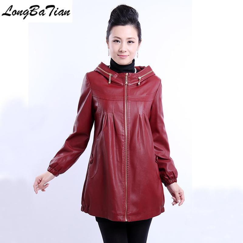 Big size 5XL long jacket and autumn 2020 clothing with a hood for women winter leather coat black