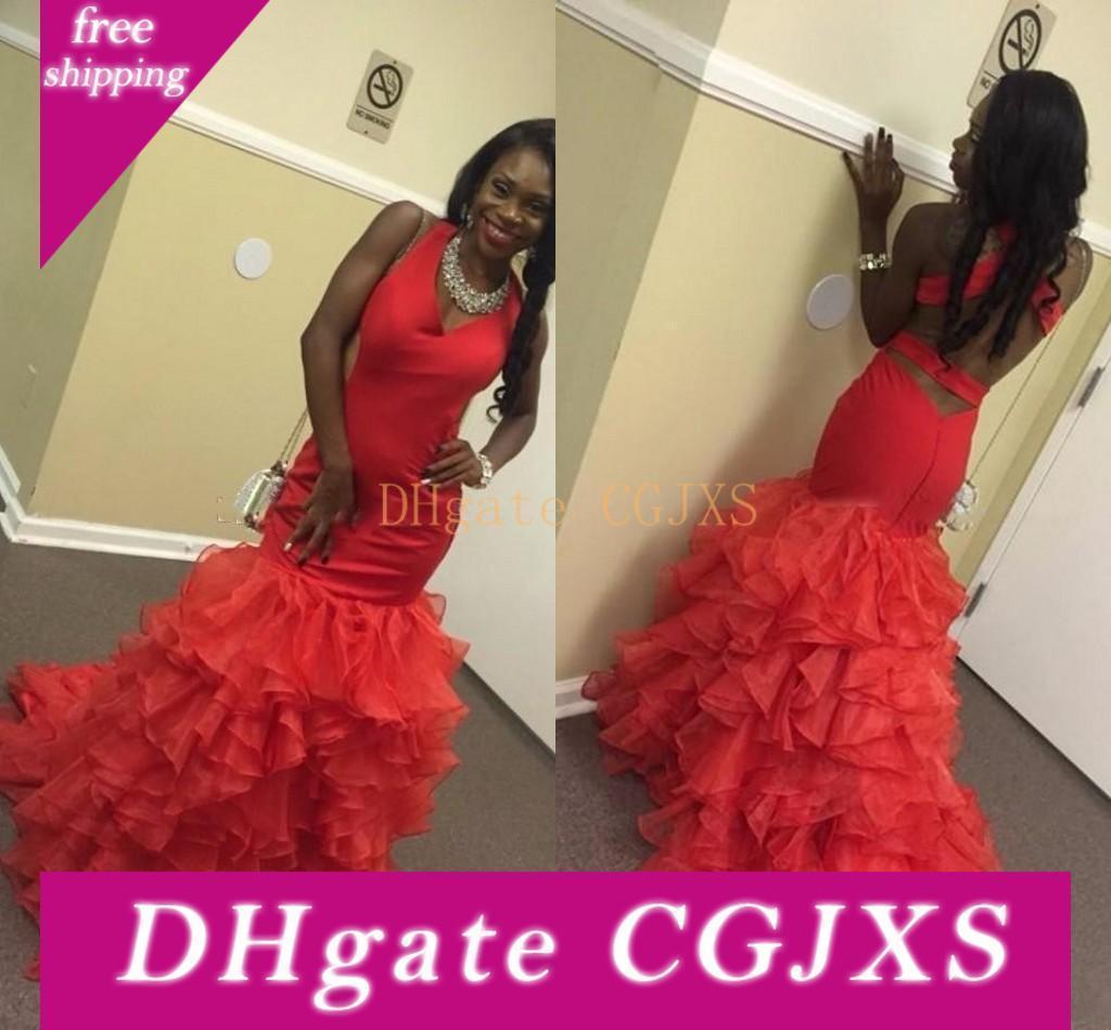 2017 New Sexy 2k17 Prom Dresses V Neck Mermaid longo vermelho Criss Cross Voltar Ruffles em camadas de organza vestido de festa vestidos de noite