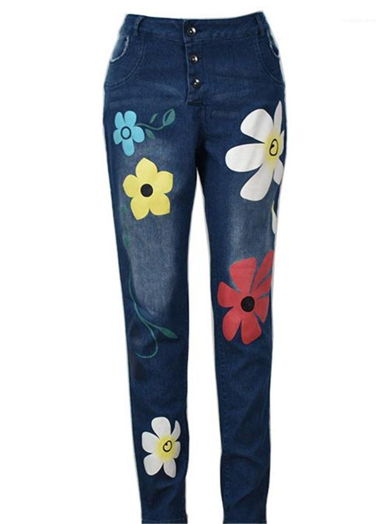 Pencil Pants Casual High Waist Natural Color Jeans Womens Washed Bleached Jeans Fashion Floral Pattern Panelled