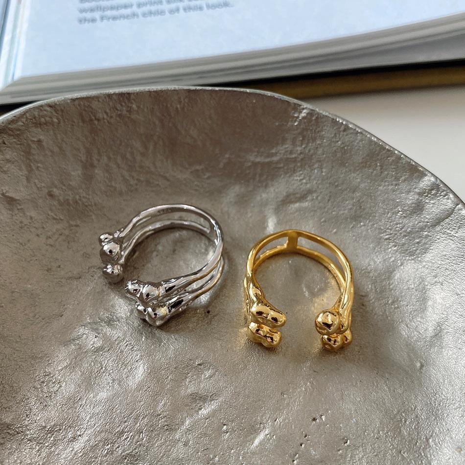 Großhandel Echt Reine 925 Sterlingsilber-Ringe für Frauen öffnen Einstellbare H Layered Unregelmäßige Minimalist Schmuck Steampunk Weibliche Geschenk