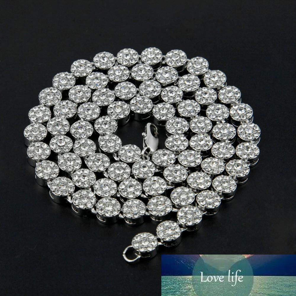 Para hombre de Hip Hop collar de la flor Cluster Negro heló hacia fuera el collar de cadena de diamantes simulados 30inches joyería para los hombres de alta Promtion
