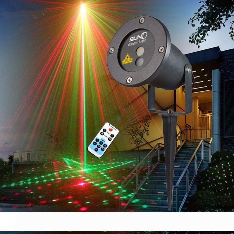 Удаленный красный зеленый 20 шаблонов Последнее лазерное свет Рождество Открытый водонепроницаемый лазерный сад Party Projector пейзаж декоративные огни