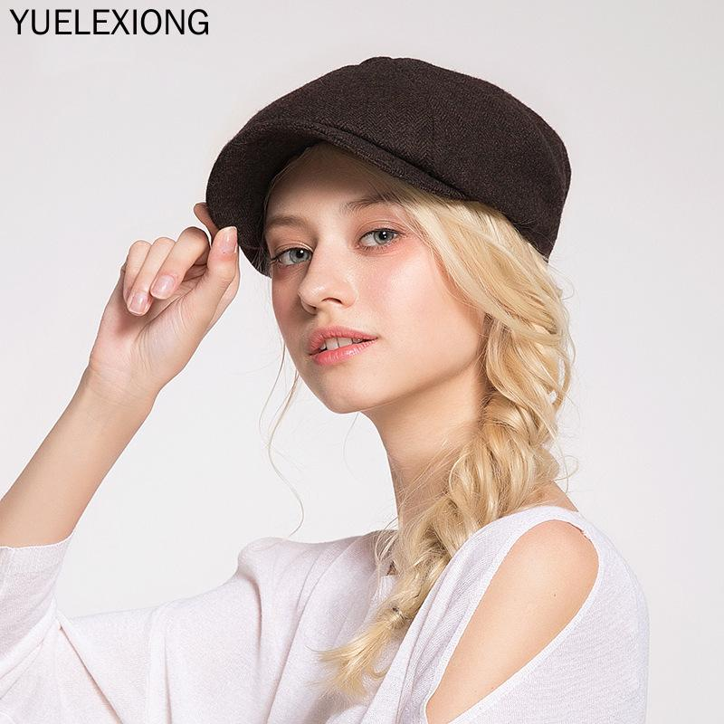 2020 Wool Tweed Newsboy Cap Herringbone Men Women Gatsby Retro Hat Driver Flat Cap Black Brown Green Navy Blue