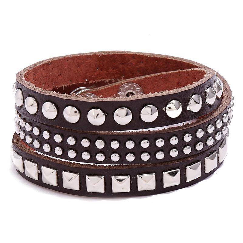 Uomo Punk Style Three-Circle Rivetti Accessori perline in rilievo Pelle in pelle Bracciali (Colore: Brown) PSL052 Monili da polso per moto hip-hop