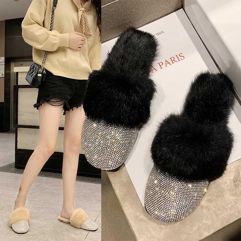 Rodada Toe Designer sapatos cabelo Mulheres Luxo deslizamento 2020 Rhinestone Fur Cristal Chinelos Diamante mulas Na Metade Chinelos Flats Shoes