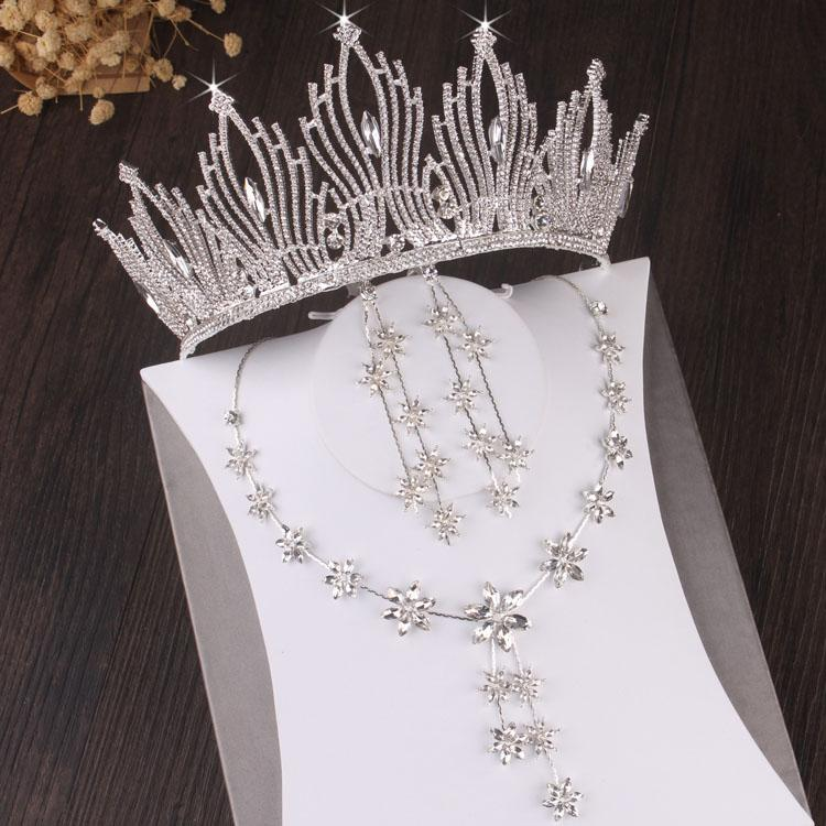 Baroque Sparkling Crystal Flower Bridal Jewelry Sets Choker Necklace Earrings Crown Tiaras Set Wedding African Beads Jewelry Set