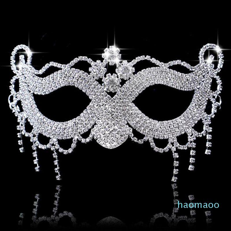 Hanzi_masks elegante di lusso del Rhinestone del diamante Maschera sexy Ognissanti Veneziana Bauta Maschera del fronte mezzo del partito di ballo di travestimento della mascherina di Cosplay Decor