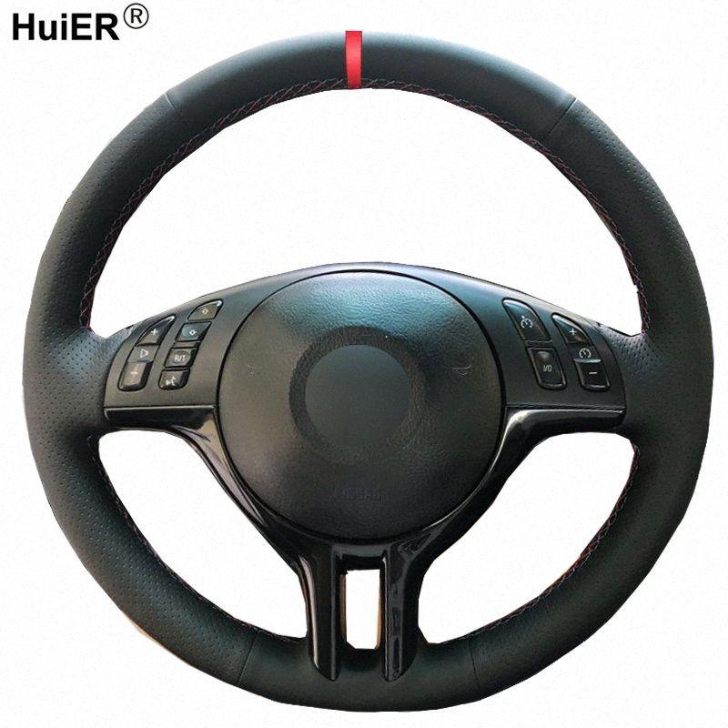 Huier Couture volant de voiture à la main Cover Pour E39 E46 325i E53 X5 Braid sur le volant Antiderapant Accessoires voiture FCBP #