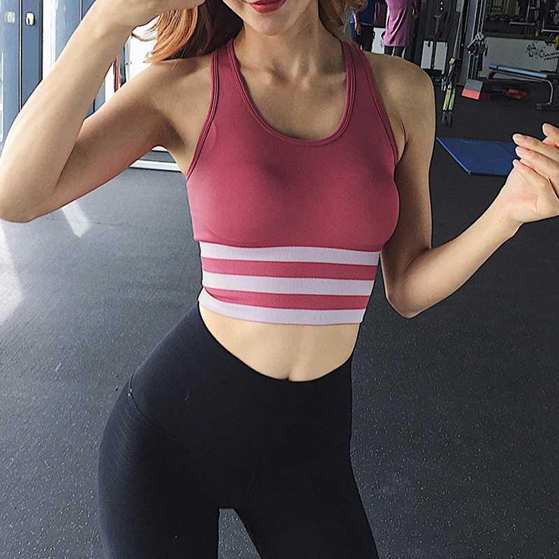 Yoga rayas Impreso sujetador Energía sin fisuras sujetador de los deportes de las mujeres empuja hacia arriba el entrenamiento de la gimnasia Bras raya remiendo de la aptitud de deporte