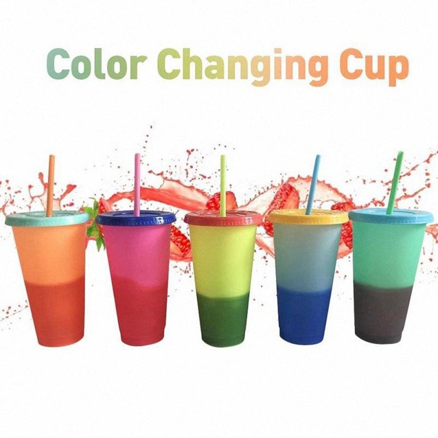 La temperatura de color cambia la taza de bebida fría botella de agua reutilizable de plástico verano Vaso con tapa pajas OOA8074 UZey #