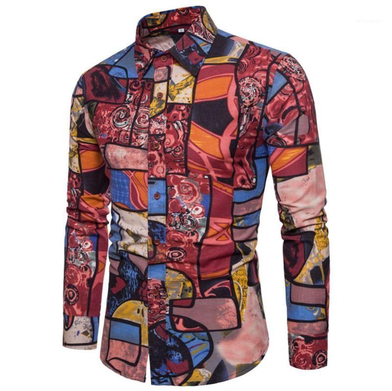 Kragen Männer Shirts Mode-Männer Designer Shirts geblümtes drucken beiläufigen Mens-Hemden Langarm-Turn-Down