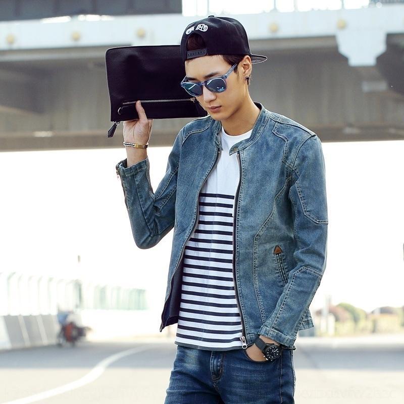 UlLy5 Весна Мужская промытый джинсовой куртки корейских SLIM мужские короткие и джинсы куртки джинсы старые пальто NZ одежды