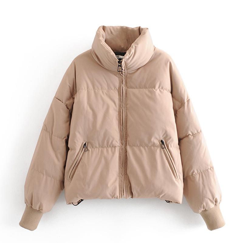 RR Soid suelta Parkas mujeres manera del invierno grueso cuello alto de las mujeres elegantes abrigos de algodón de la cremallera chaquetas Mujer Damas JAE T200808
