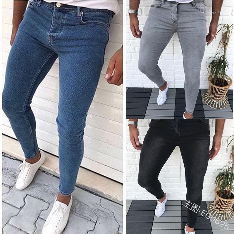 Stil Homme Giyim Hip Hop Fermuar Gündelik Giyim Erkek İnce Jeans Katı Renk Cep Yaz Moda