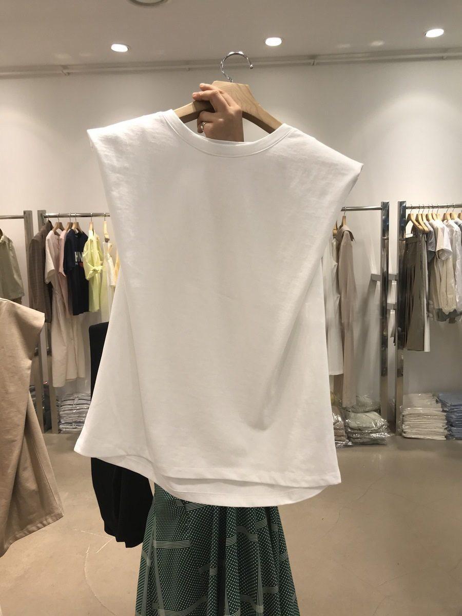 54g0e Sul67 coreana Dongdaemun em torno do pescoço sem mangas Brasão 2020 T-shirt das mulheres T-shirt do estudante de verão nova cor sólida todo-match senso de design t