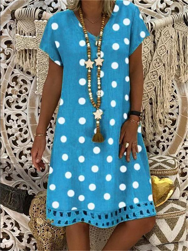 Ansatz Kurzschluss-Hülsen-beiläufige Kleider Sommer Mode-Frauen-Kleider-Tupfen-Druck-Frauen-Kleider Strand-Feiertag lose V