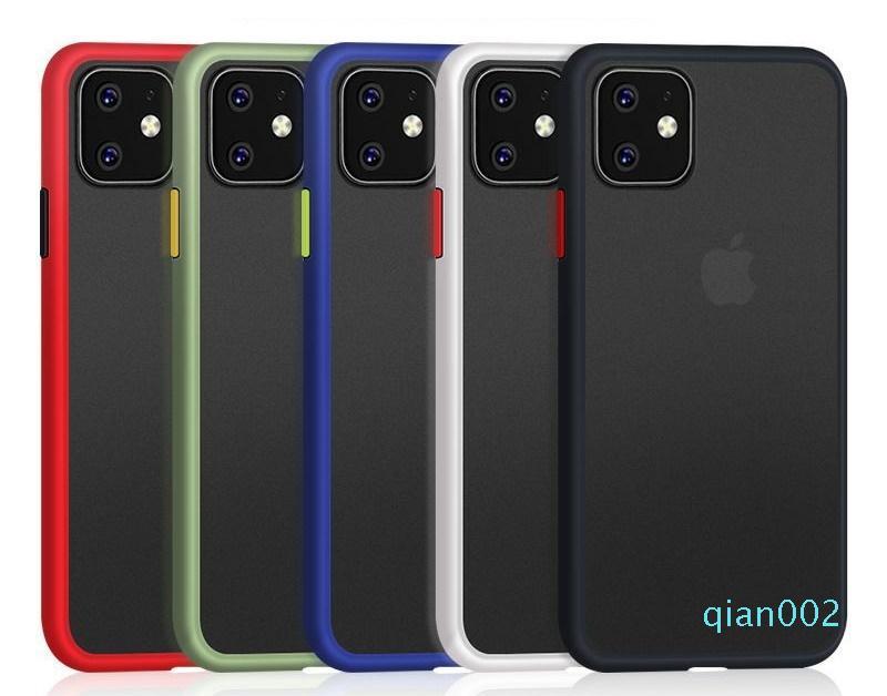 TPU + PC Basit Mat Telefon Koruyucu Darbeye Kılıf iphone 6 6s 7 8 Plus X Xs Xr 11 Pro Max 12 Sert Kapak