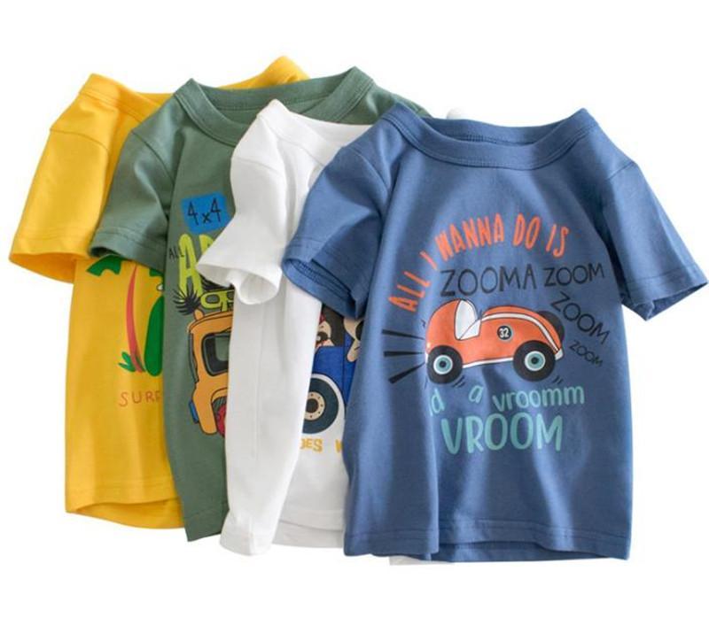 Yaz oğlan kız için yeni moda bebek kıyafetleri kısa% 100 pamuklu tişört çocuklar bebek giysileri sleeve