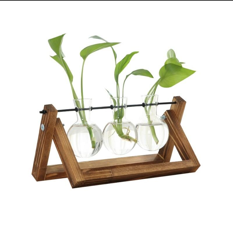 Plant Terrarium with Wooden Stand Air Planter Bulb Glass Vase Metal Swivel Holder for Hydroponics Home Garden Office Decoration