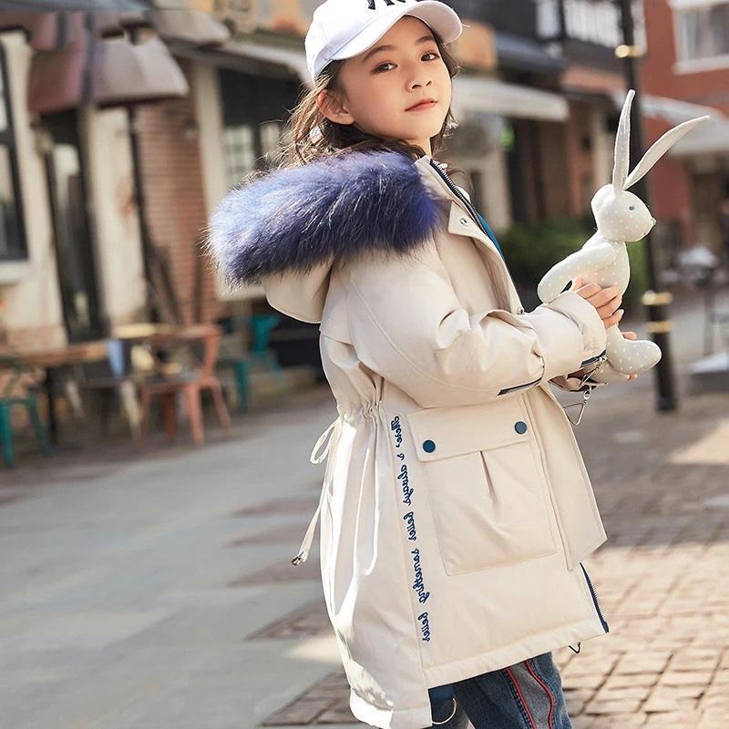 -30 grados Niños Moda invierno caliente por la chaqueta de la muchacha ropa de verdad Fur Coat Parka Kid espesa la prendas de vestir exteriores de ropa traje para la nieve