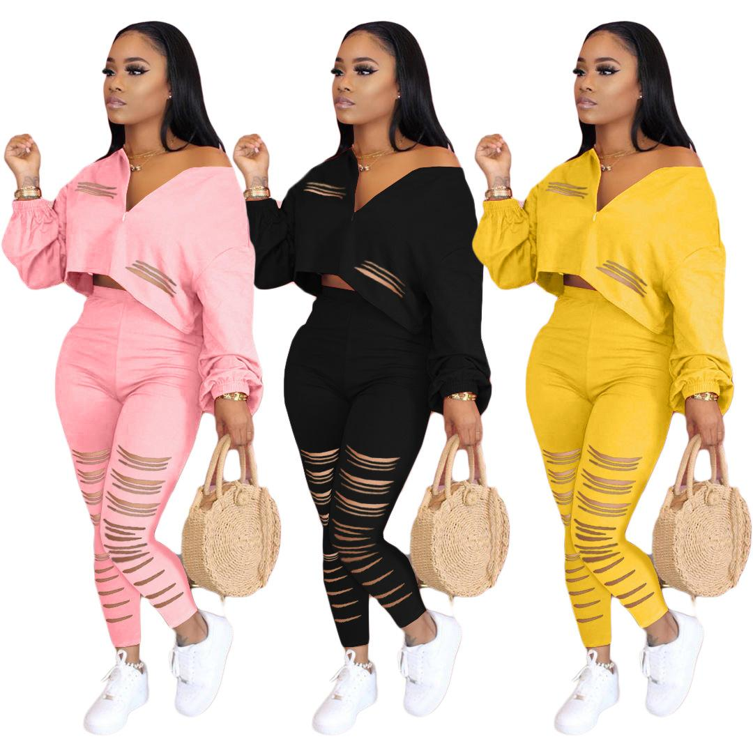 Women Casula Clothing Sets 2020 Autumn Fashion Solid Color Clothing Suits Womens Sexy Short Tops + Long Pants Hollow Out Two Pieces Sets