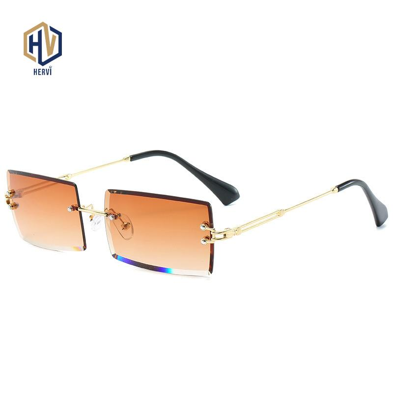 piccolo rettangolo occhiali da sole donne senza montatura occhiali da sole quadrati per le donne 2020 stile estate femminile UV400 marrone verde