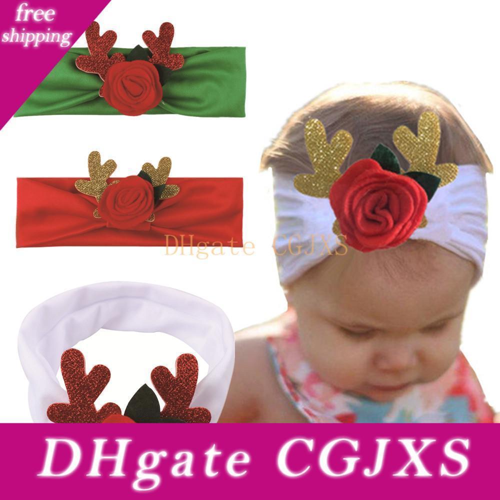 Neonata di Natale Deer Fasce elasticità Infant Antlers capelli Rose Band Bambini Accessori per capelli di natale Copricapo