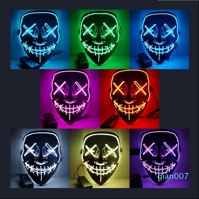 Halloween della mascherina di orrore LED Glowing maschere Maschere Purge Elezione Mascara costume del partito del DJ Light Up Maschere incandescenza nello scuro 10 colori di trasporto