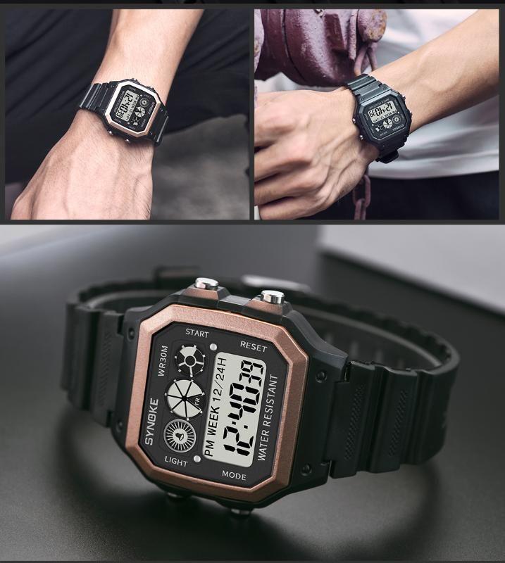 SYNOKE Мужская мода цифровые часы спорта Большой площади набора водонепроницаемый хронограф светодиодные электронные часы Мужской Relogio Мужчина для