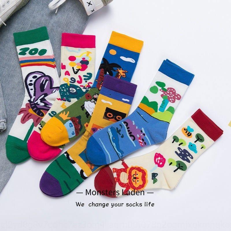 B0yiJ Super metà polpaccio calzini delle donne serie meravigliosa zoo Cartoon Bella Cartoon ins illustrazione moda calze Calzini e stockingss