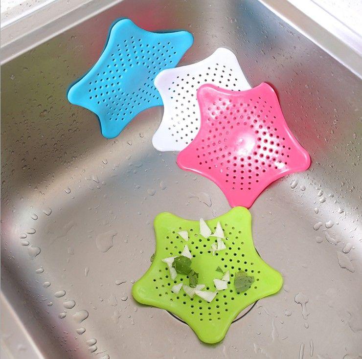 Silicone Sink Seastar Type Filter Kitchen Bathroom Sewer Drain Hair Colanders