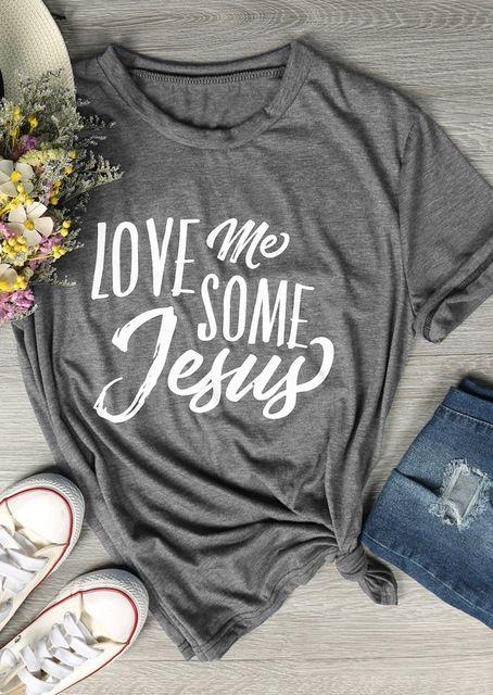 Verano del inconformista camiseta de algodón Amor Me Some Camiseta de Jesús Tumblr Carta de Harajuku Tops Casual Estética gráfico camiseta gris populares