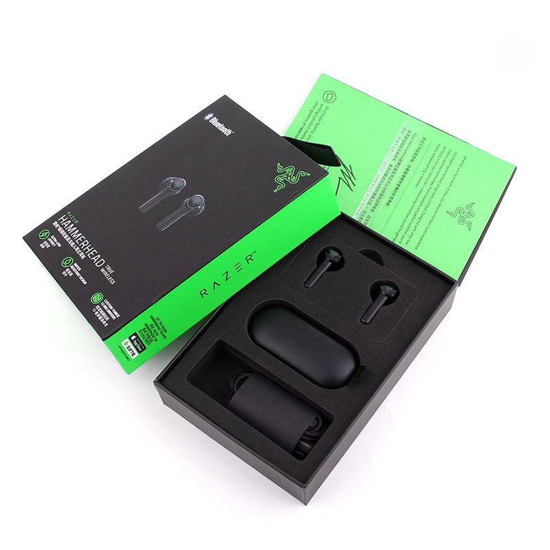 Razer Hammerhead настоящие беспроводные наушники TWS Bluetooth 5.0 IPX4 встроенные наушники IPX4 встроенный микрофон включения / выключения коммутатора наушников гарнитуры DHL бесплатно